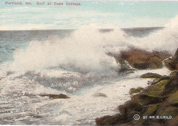 Portland Maine Surf At Cape Cottage Antique Postcard Maine Postcard Postcard