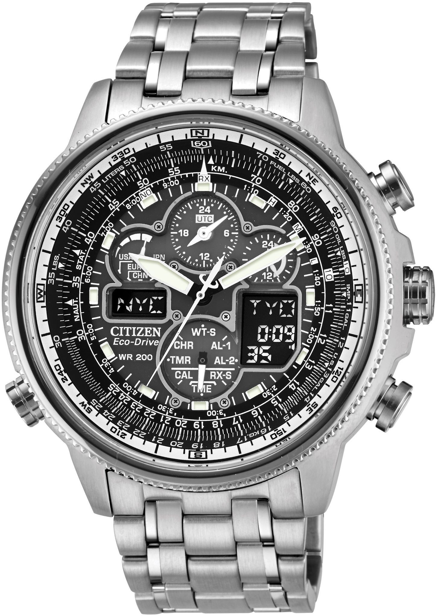 7ba5400f298 Citizen Eco-Drive Navihawk Global Radio Controlled Pilots Watch JY8030-59E