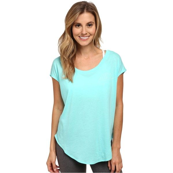 fe699d495 Nike Signal Tee - Small Logo Women's T Shirt, Blue ($25) ❤ liked on  Polyvore featuring tops, t-shirts, blue, nike t shirts, nike tees, blue tee,  scoop neck ...