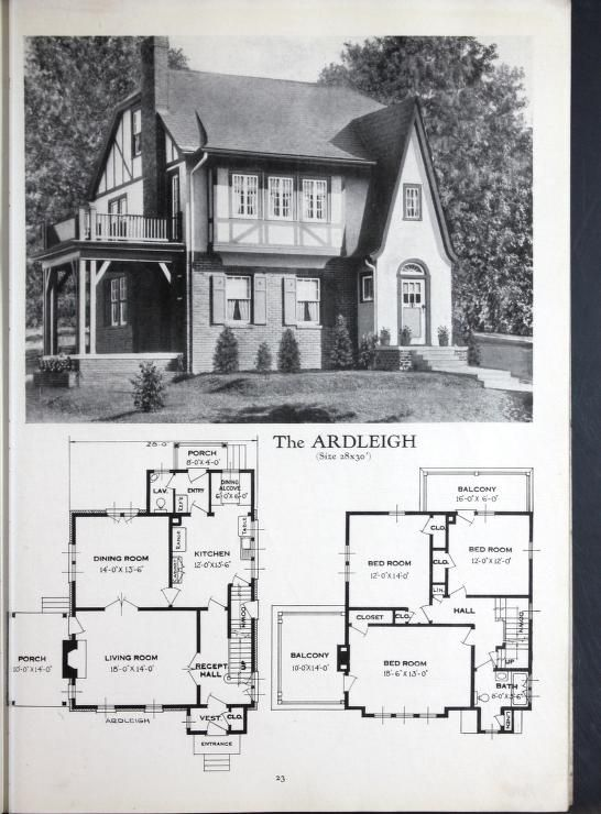 Homes Of Brick And Stucco Mansion Floor Plan Vintage House Plans Historic Homes