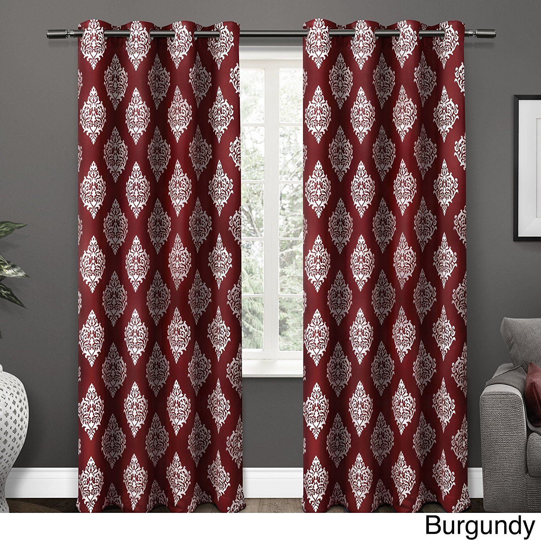 inch burgundy red white medallion curtains panel pair set dark