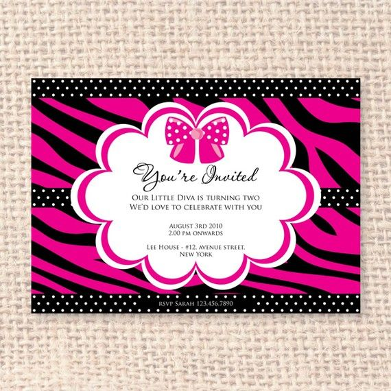 little diva animal print invitation diy by blackleafdesign on etsy, Birthday invitations