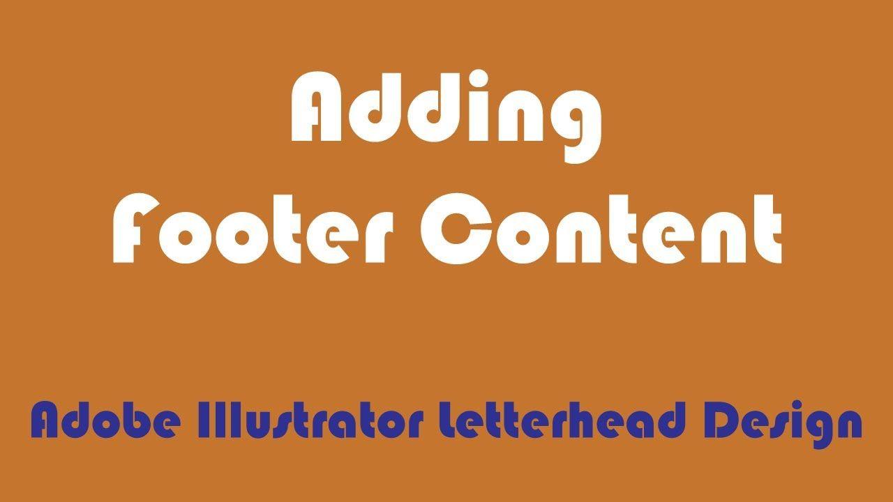 Adding footer content adobe illustrator letterhead