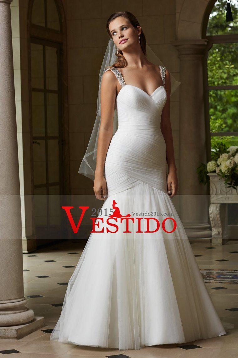 2015 correas de la sirena / de la trompeta Vestidos de boda plisado blusa