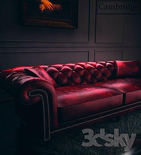 3d models: Sofa - Cambridge chester Sofa + fur Carpet + Monalisa Painting,