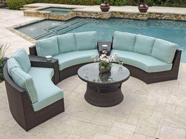 San Lucas 5 Pc Aluminum Woven Resin Wicker Contour Sectional Outdoor Furniture Outdoor Furniture Sets Outdoor Fabrics Cushions