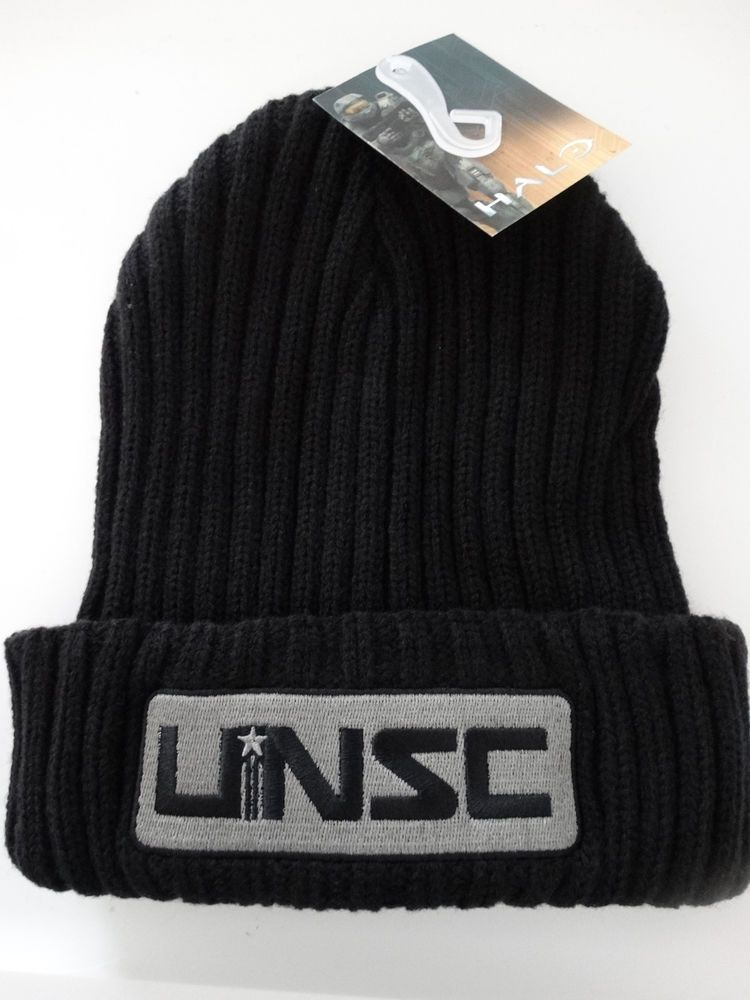 Halo UNSC Logo Xbox Video Game Cuff Knit Black Hat Nwt  Halo  Beanie ... 7ccb9478713d