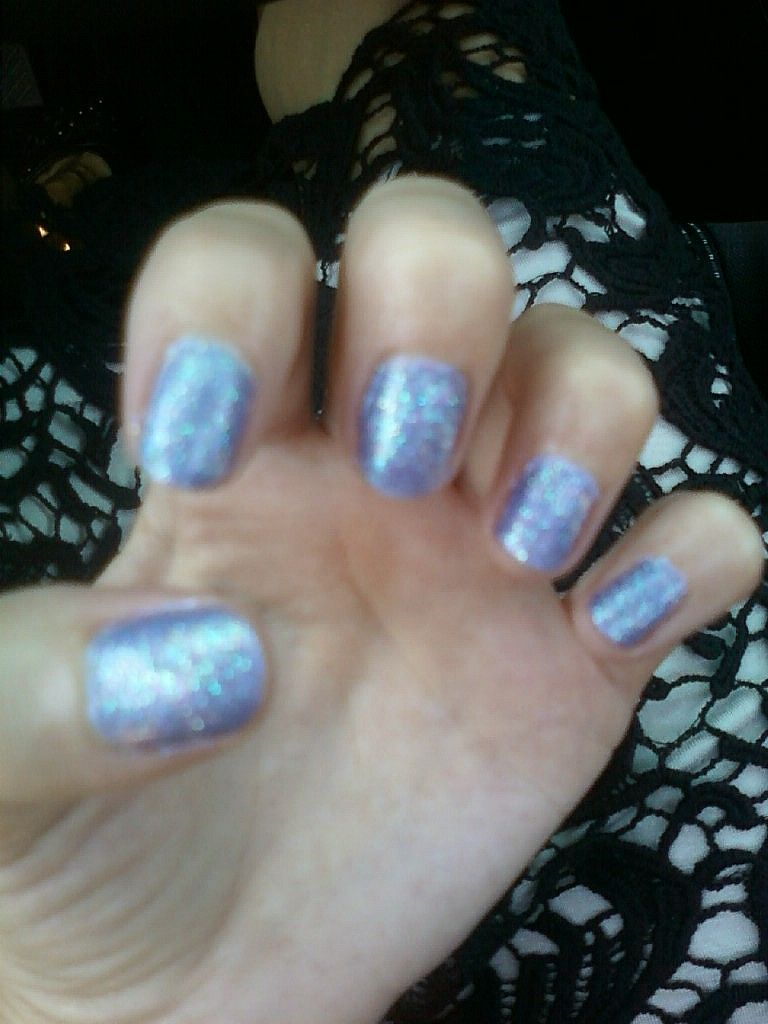 I made my own purple nail polish! It\'s mixed blue and purple ...