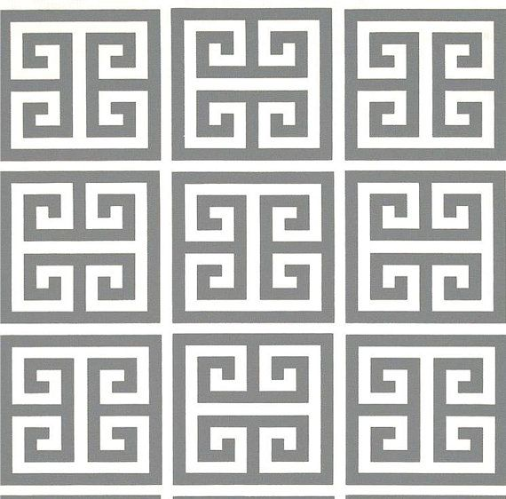 Roman Geometric Grey Home Decor Fabric by the Yard, Designer Grey ...