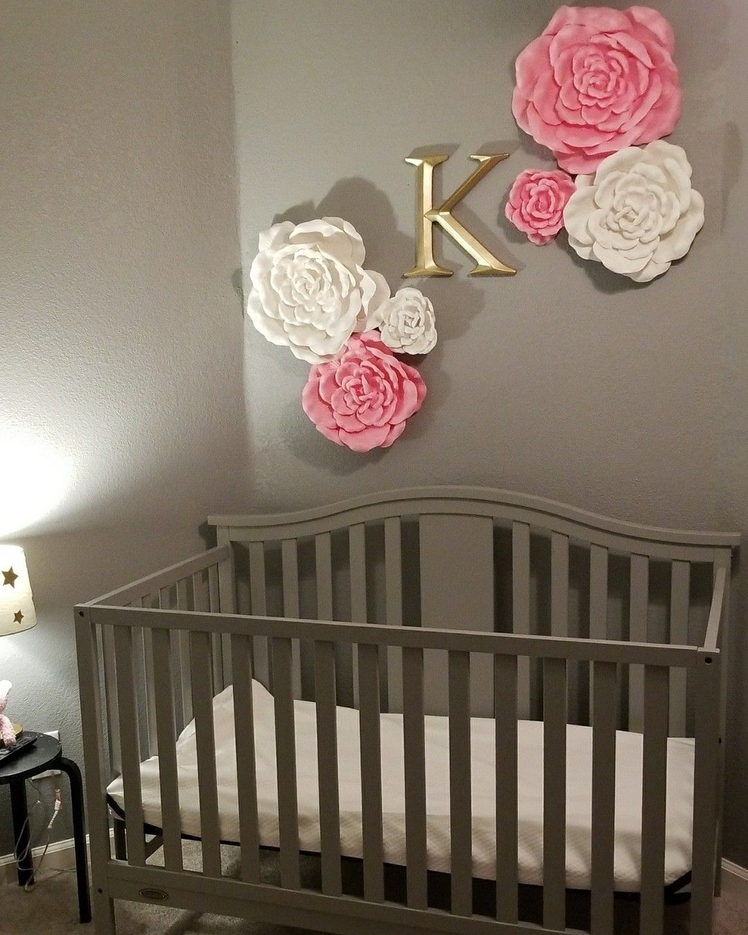My nursery for my baby girl! Flowers and letter from hobby