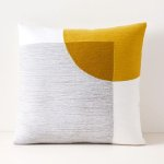 """Crewel Overlapping Shapes Pillow Cover, 18""""x18"""", Stone Gray"""