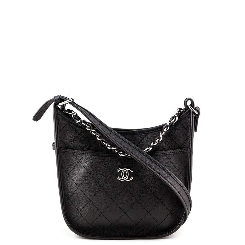 Chanel Black Quilted Calfskin Small Jungle Stroll Hobo Bag - LOVE that BAG  - Preowned Authentic 5f5a19c8e5bf9