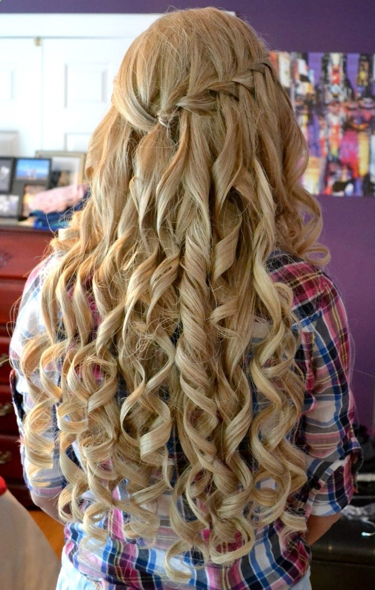 Homecoming hairstyles for long thick hair - Amazing Curly Long Blonde Homecoming And Prom Hairstyle This Would Be Cool For My Sweet