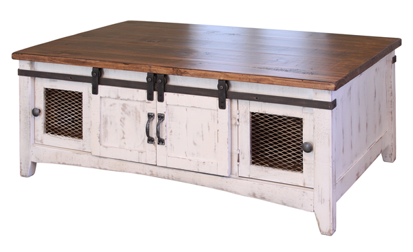 This cocktail table is 100 solid pine, with an antiqued