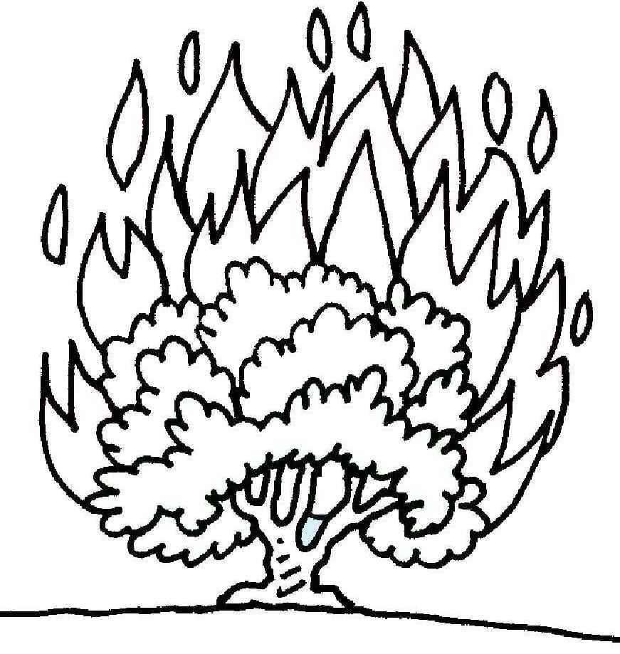 Printable coloring pages moses burning bush - Burning Bush Coloring Page Printable Coloring Pages