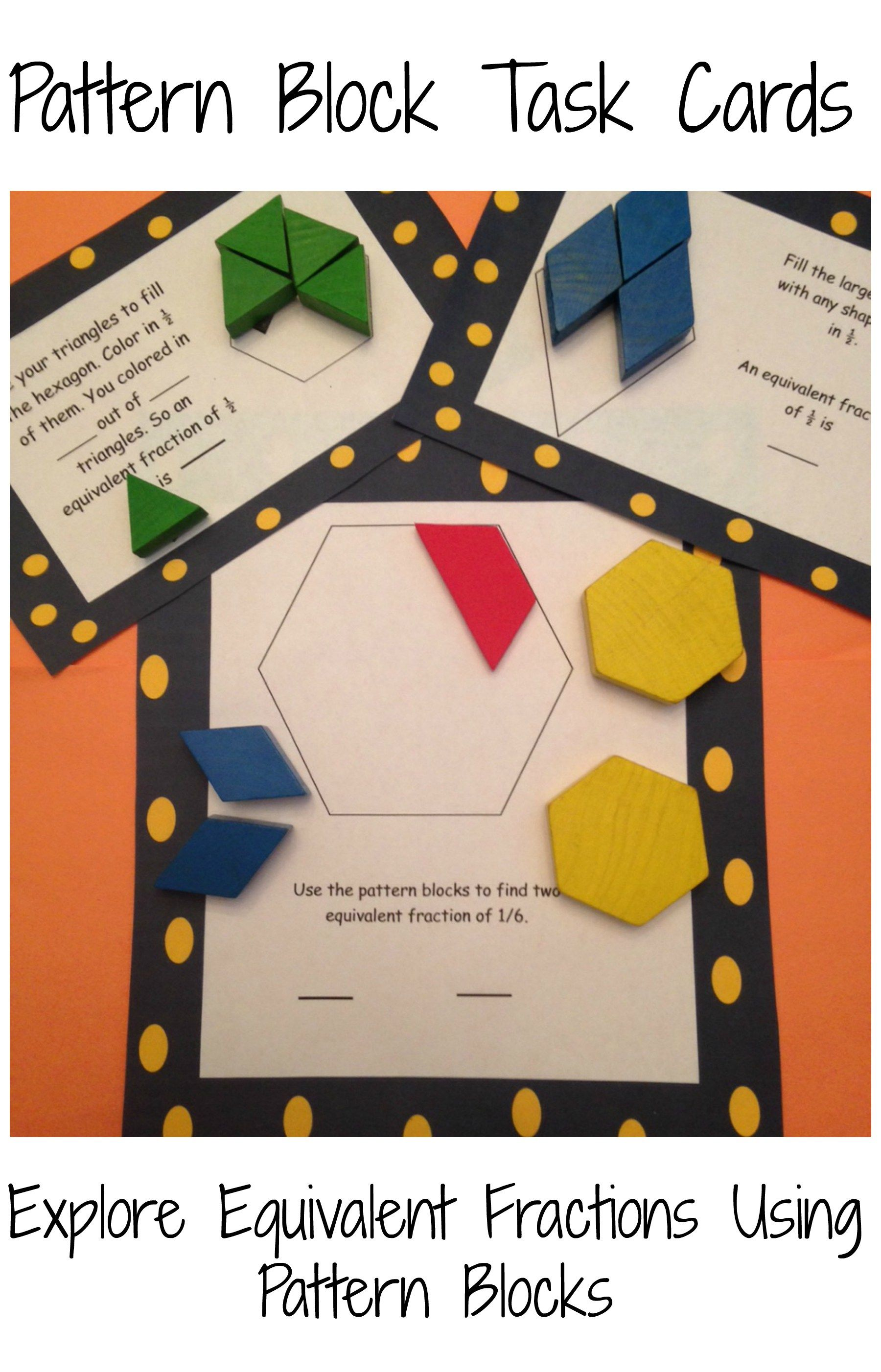 Free Equivalent Fraction Pattern Block Task Cards Math Patterns