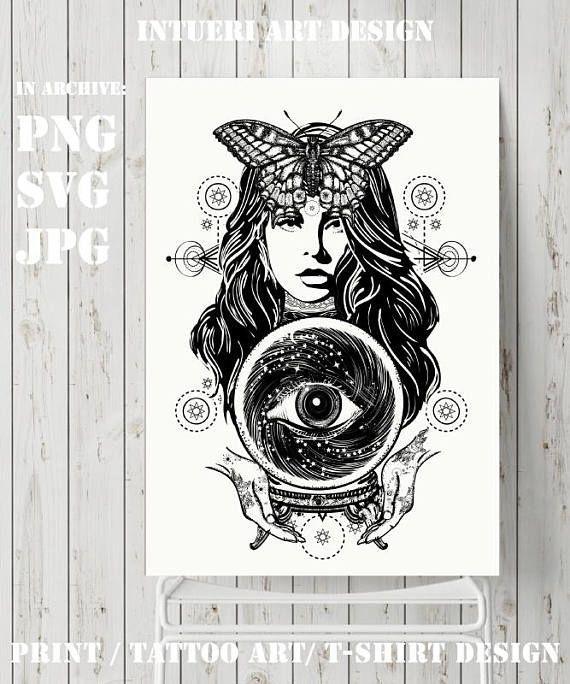 Magic woman svg Witch tattoo art. Fortune teller crystal ... |Gypsy Fortune Teller Symbols