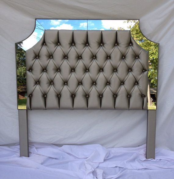 Grey Faux Leather Upholstered Headboard