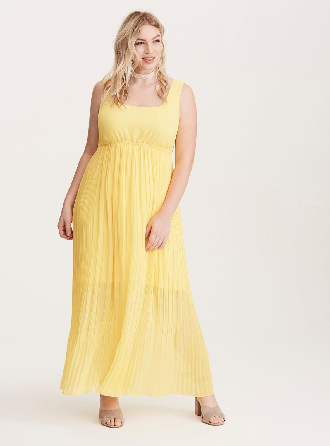 1fc230ca6 Pleated Chiffon Maxi Dress | Full Figured Fashion | Chiffon maxi ...