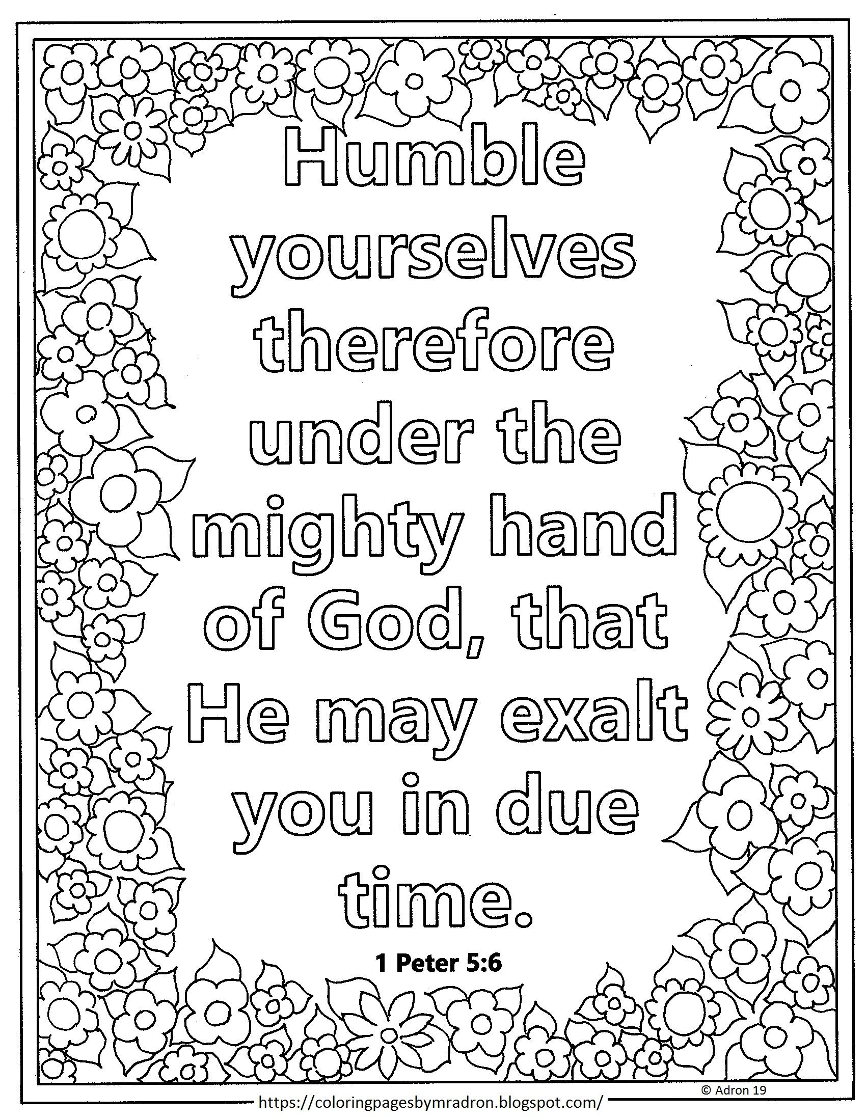 Lent Day 7 With 1 Peter 5 6 Print And Color Page Bible Coloring Pages Coloring Pages Bible Verse Coloring Page