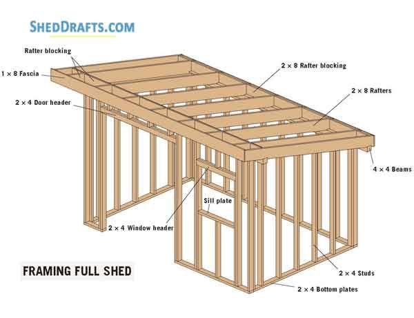 8 U00d712 Slant Roof Utility Shed Plans Blueprints For Crafting
