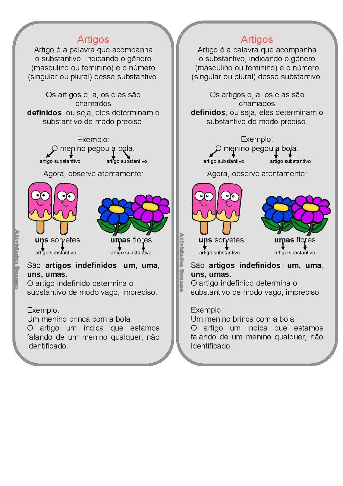 Substantivo E Artigo Para Caderno Atividades Pedagogicas