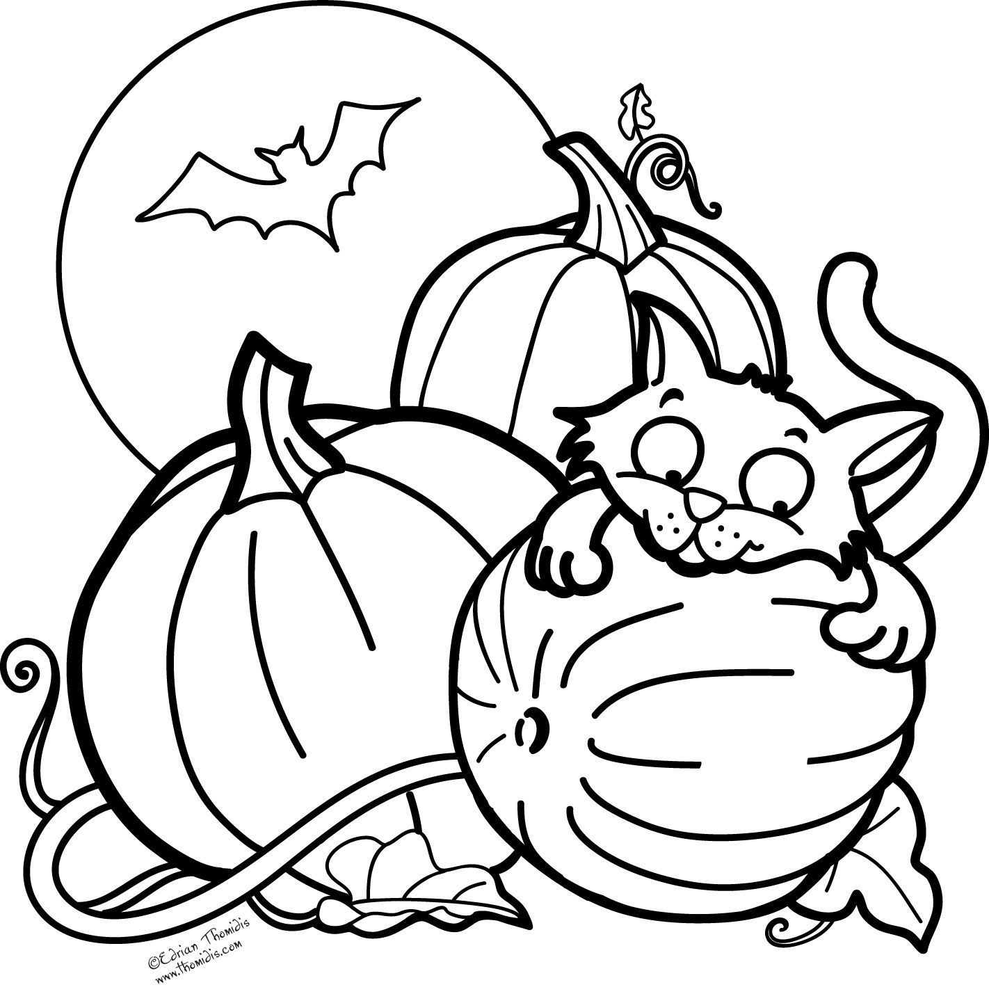 Pumpkin, Cat and a Bat for Halloween. Free Coloring Page
