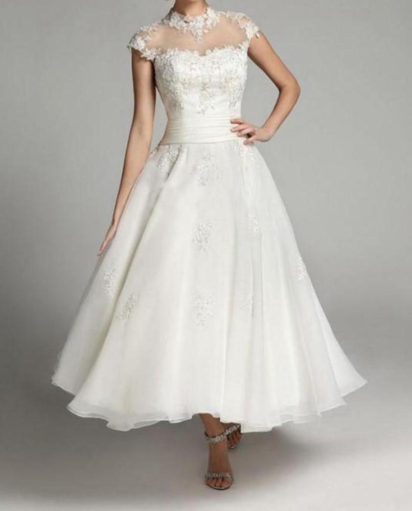 Neu Weiß Applikationen Hochzeitskleid A-Linie Kurz Brautkleid Gr
