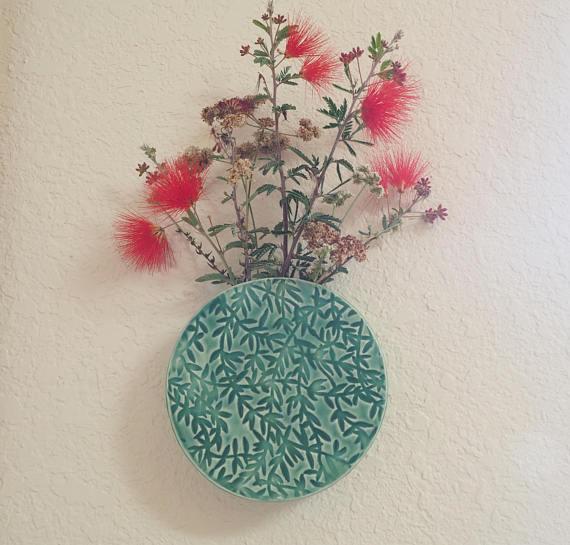 Wall Pocket Round Wall Vase Ceramic Wall Vase Hanging Floral