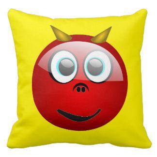 Red Devil Funny Emoji Face Custom Pillow Cushion   emoji