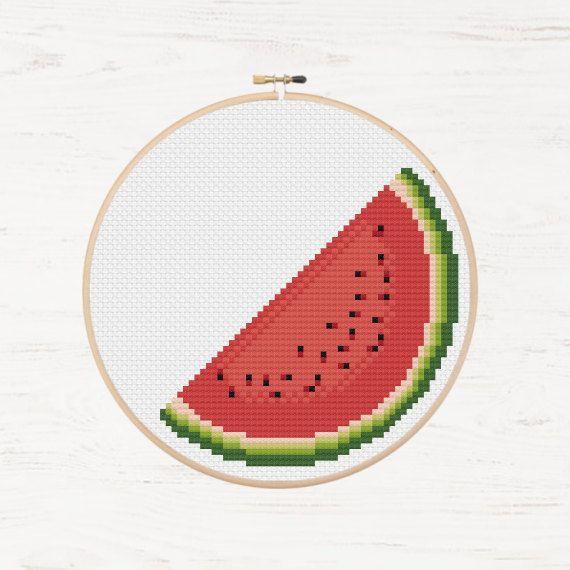 Lot 2 Cross Stitch Watermelon Embroidery Patch