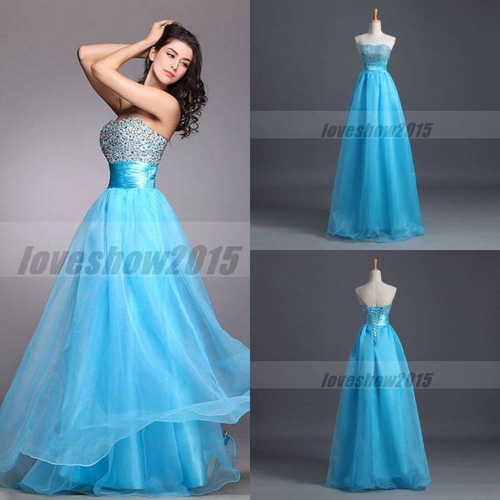 Sexy Blue Beads Long Prom Dresses Evening Gown for Wedding Party ...