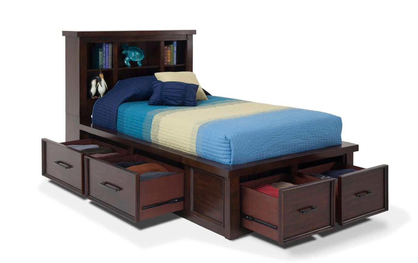 Hudson Youth Twin Storage Bookcase Bed Bobs Com Bookcase Bed
