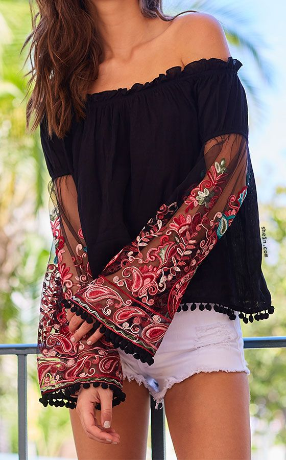 7b9492ca46d623 Black Ruffle Off The Shoulder Embroidered Bell Sleeve Top | outfits ...
