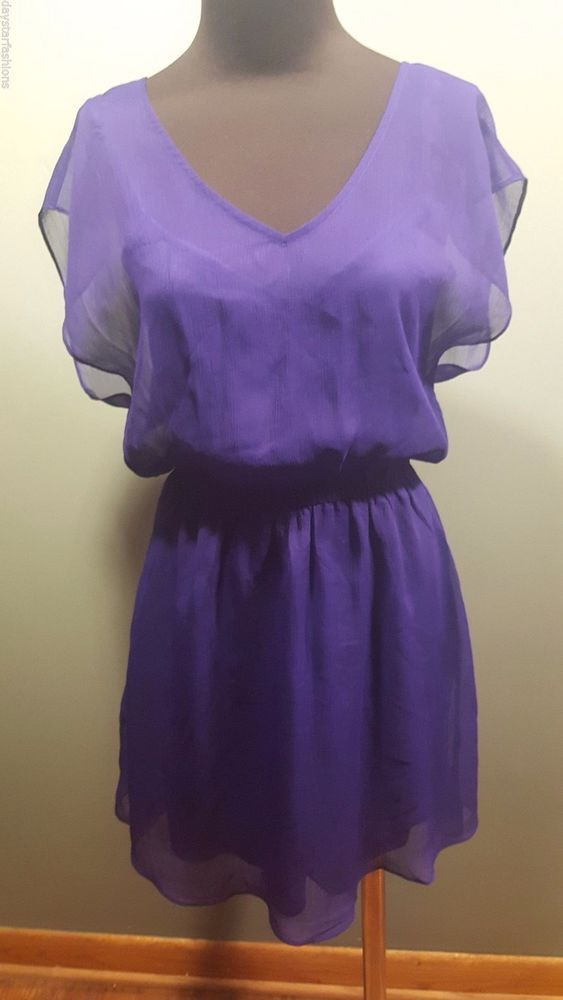 Express Purple Double Layered Strappy Chiffon Short Sleeve Party ...
