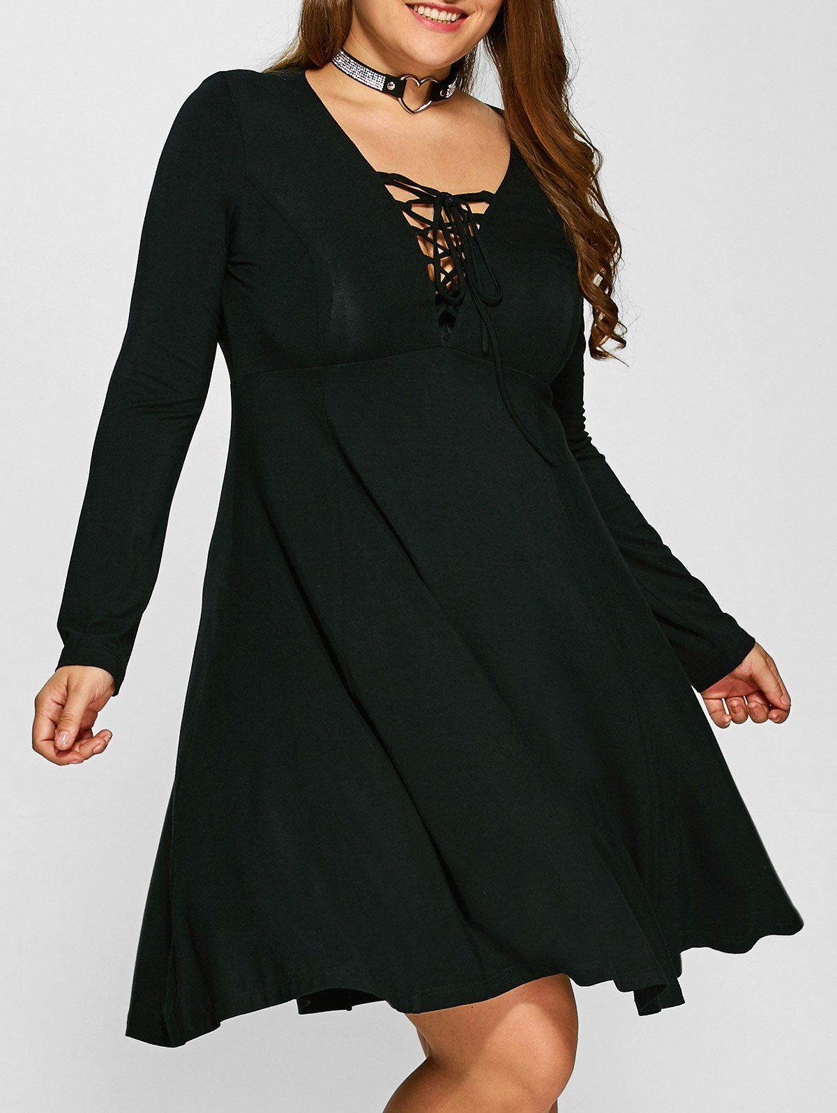 7efc1a30b14 Plus Size Lace-Up Empire Waist Slimming Dress in Black