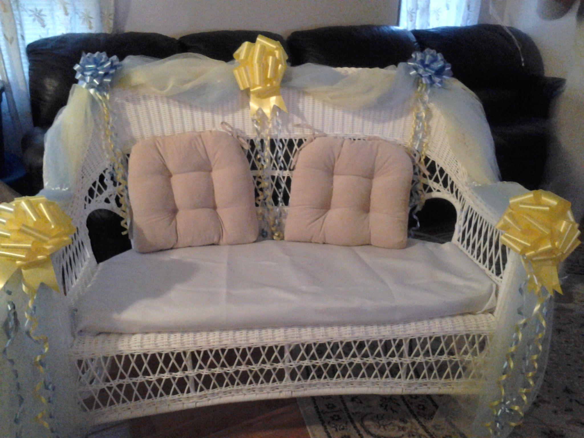 Archaic Baby Shower Chair Bows and baby shower wicker chair