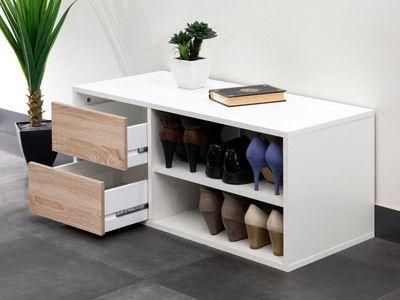 Meuble à chaussures / Banc 2 niches 2 tiroirs Longueur 895 ARNOLD