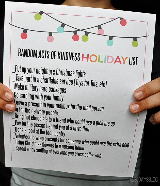 Random Acts of Kindness Holiday Printable - perfect for Christmas to spread some holiday cheer! from www.thirtyhandmadedays.com
