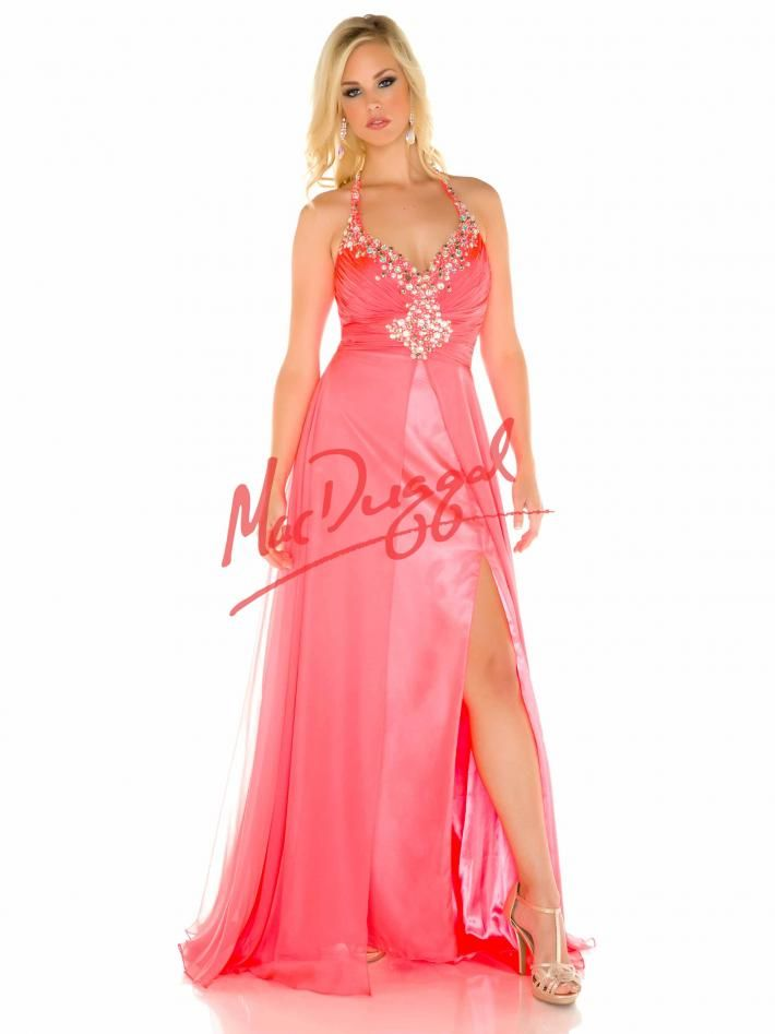 Neon Coral Plus Size Prom Dress   Mac Duggal 65050F   Faith\'s sweet ...