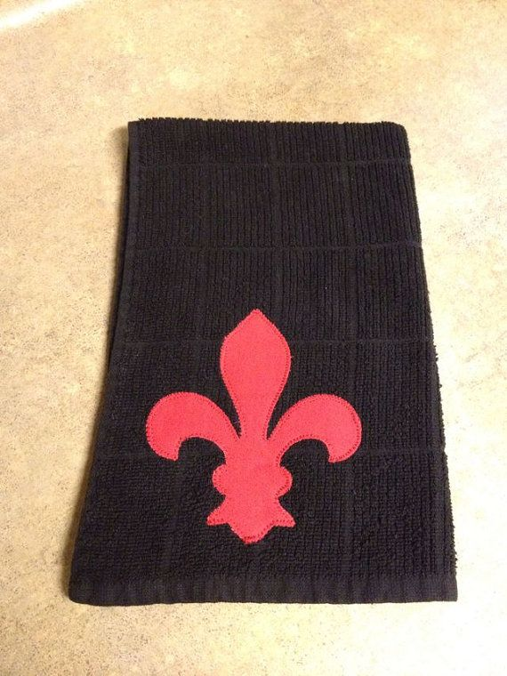 Fleur De Lis Black And White Machine Embroidered Kitchen Towel
