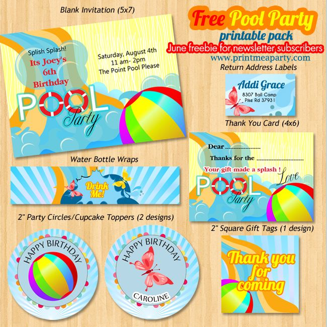 Free printable pool birthday party pack contains party invitation – Pool Party Invitations Printable