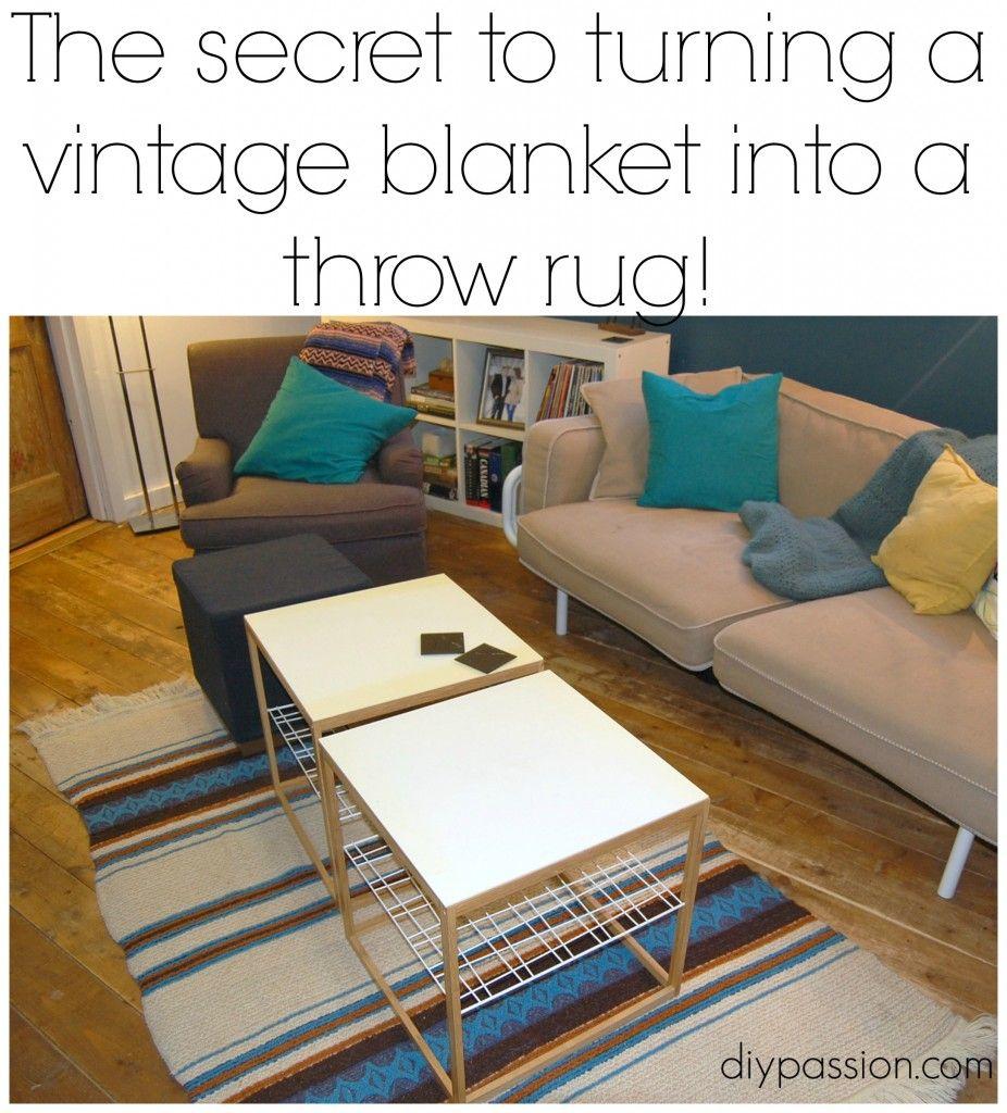 How To Turn A Throw Blanket Into A Throw Rug! Via