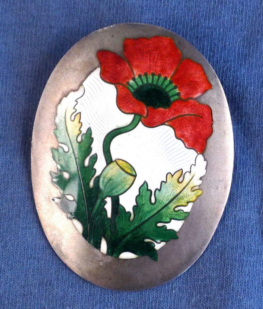 Vintage Shepard Sterling Silver & Enamel Floral / Poppy Pin