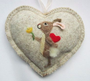 Felted Dog Heart needle felted puppy on a by SweetLibertyBelle