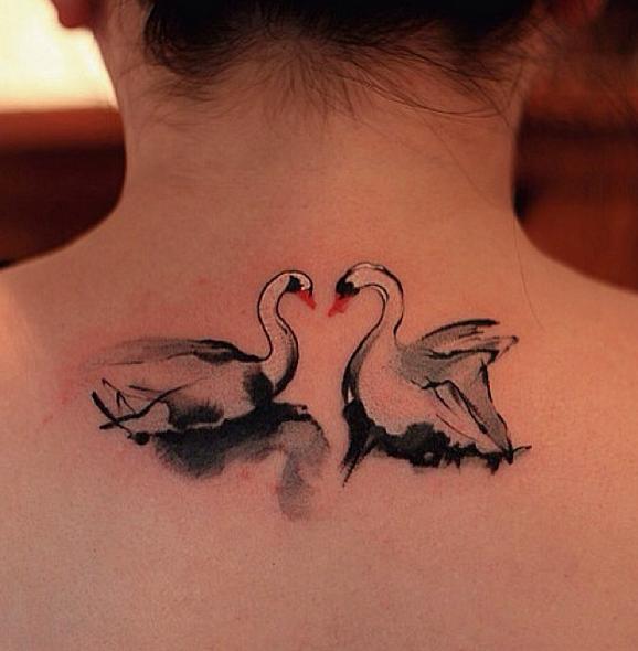 3313db9c1c848 Swan by Chen Jie - love the Chinese brushstrokes | Tattooooo ...