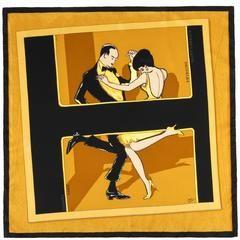 "HERMES c.2007 Jean-Louis Clerc ""Swinging Saint-Germain"" Gold Swing Dance Scarf"