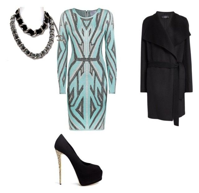 """""""Date Night"""" by southerenchick ❤ liked on Polyvore featuring Hervé Léger, Chanel, Joseph and Giuseppe Zanotti"""