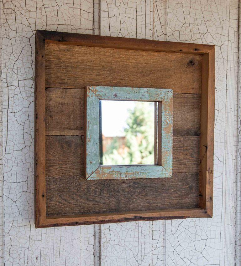 Repurposed Pallet and Vintage Trim Wood Mirror 13x13   Inspiring ...