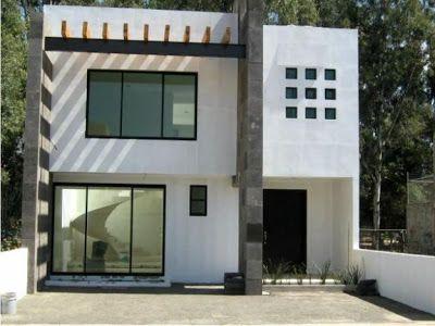 7 metros de frente acabados minimalistas blanco cantera for Casa minimalista 80 metros